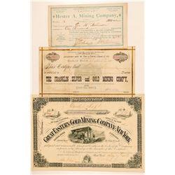 Three Different Black Hills, Dakota Mining Stock Certificates  #100772