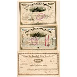 Three Dakota Territory Stock Certificates (Mining & Farm)  #100774