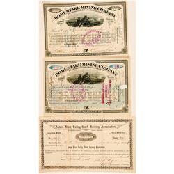 Three Dakota Territory Stock Certificates (Mining & Farm)  #100774
