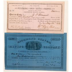 Two Different Dakota Territory Mining Stock Certificates  #100777