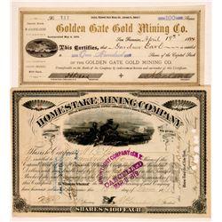Whitewood District South Dakota Stock Certs. 2  #108153