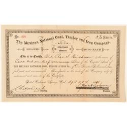 The Mexican National Coal, Timber and Iron Co. Stock Certificate  #91870