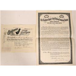 Blackbird Copper- Gold Mining Co. Stock & Bond With Blackbird Vignette  #110130