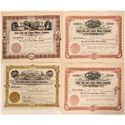 Four Stocks from Beaver County, Utah- One signed by Charles Watkins  #110133