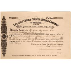 Last Chance Silver Mining Company of Utah Stock  #109054