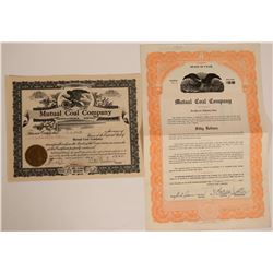 Mutual Coal Company Stock & Bond from Carbon County, Utah  #110128