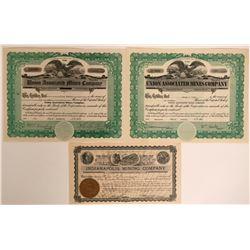 Three Utah Stocks from Erickson District, Tooele County  #110094