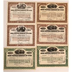 Ohio Copper Company of Utah, 6 Certificates  #110107