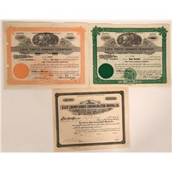 Lehi, Utah Mining Stocks- 3Signed by Charles E. Zabriskie  #110100