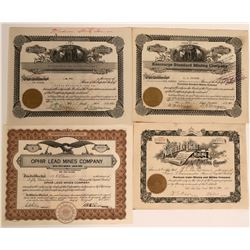 4 Stocks from Ophir Mining District, Tooele County, Utah  #110098