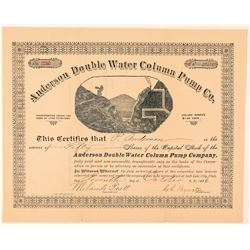 Anderson Double Water Column Pump Co. Stock Certificate  #100833