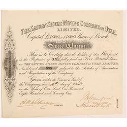 Saturn Silver Mining Co. of Utah, Ltd. Stock Certificate  #107206
