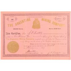 Argentine Mining Company Stock Certificate  #100802