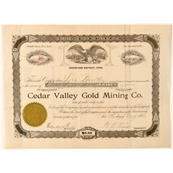 Cedar Valley Gold Mining Co. Stock Certificate  #100787