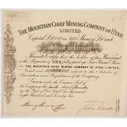 Mountain Chief Mining Company of Utah Stock  #86748