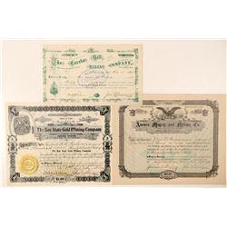 Three Different Utah Mining Stock Certificates  #100788