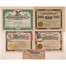 5 Different King County, Washington Mining Stock Certificates  #107634