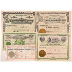 Five Different Washington Mining Stock Certificates  #104383