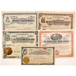 Five Different Washington Mining Stock Certificates  #104385
