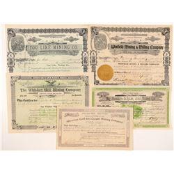 Five Different Washington Mining Stock Certificates  #104388