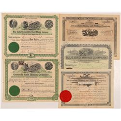 Five Different Washington Mining Stock Certificates  #104396