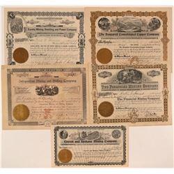Five Different Washington Mining Stock Certificates  #107641