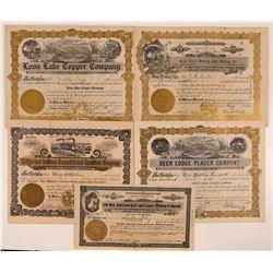 Five Different Washington Mining Stock Certificates  #107648