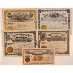 Five Different Washington Mining Stock Certificates  #107649