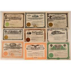Nine Different Unissued Washington Mining Stocks  #107640