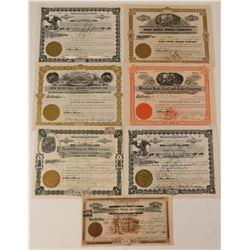 Seven Washington Mining Stock Certificates  #107630