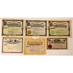 Six Different Washington Mining Stock Certificates  #107650