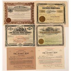 Six Different Washington Mining Stock Certificates  #107629