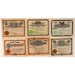 Six Different Washington Mining Stock Certificates  #107652
