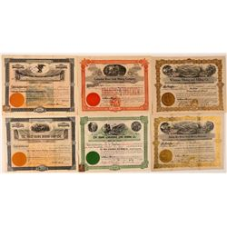 Six Different Washington Mining Stock Certificates  #107653