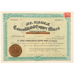 St. Croix Cons. Copper Mines of Superior Stock Certificate  #104251