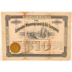 Colorado & Wyoming Land & Oil Co. Stock Certificate  #100939