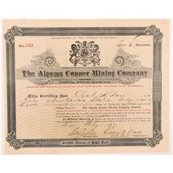 Algoma Copper Mining Co. Stock Certificate  #104266