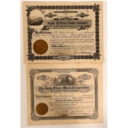 Two Canadian Stock Certificates: Rocher DeBoule Copper issued to J. E. Oppenheimer and Endorsed  #10