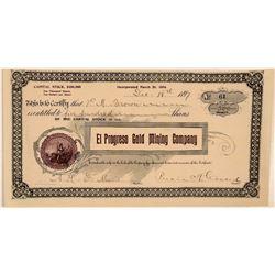 El Progreso Gold Mining Company Stock Certificate  #107731