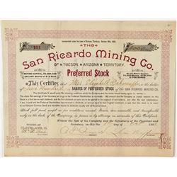 San Ricardo Mining Company Stock Certificate  #100892