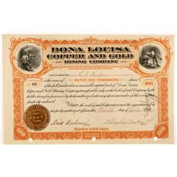 Dona Louisa Copper and Gold Mining Company Stock Certificate  #104207