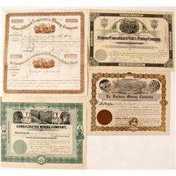 Four Different Mexican Mining Stock Certificates  #59090
