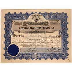 Royston Coalition Mines Stock, Royston Nevada  #110216