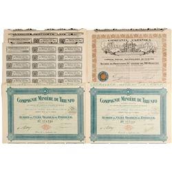 Compagnie Miniere Du Triunfo & Compania Espanola Bond Certificates  #81073