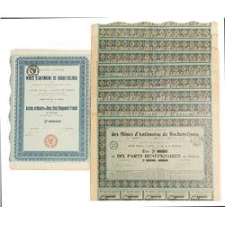 Mines D'amtimoine De  Rochetrejoux Mining Bond Certificates  #81814