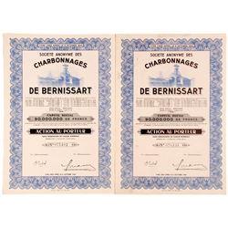 Societe Anonyme Des De Bernissart (Coal Mining Company Bond Certificates)  #81817