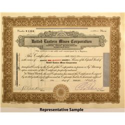 United Eastern Mines Corp. Stock Certificates  #50021