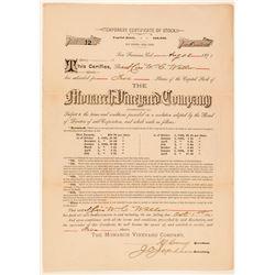 Monarch Vineyard Company Stock Certificate  #100835