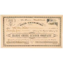 Hardy Creek Lumber Company Stock Certificate  #100761