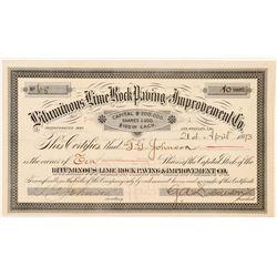 Bituminous Lime Rock Paving & Improvement Co. Stock Certificate  #103478